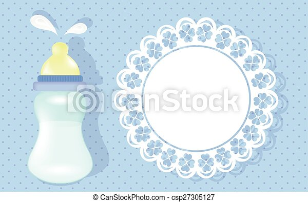 Baby Boy Shower Card Blue Background With Baby Bottle And Space For Information About Baby