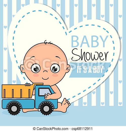 Baby Boy Shower Card Baby Shower Card Boy With A Truck