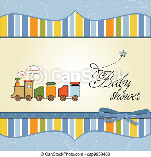 baby boy shower card with toy train - csp9950460