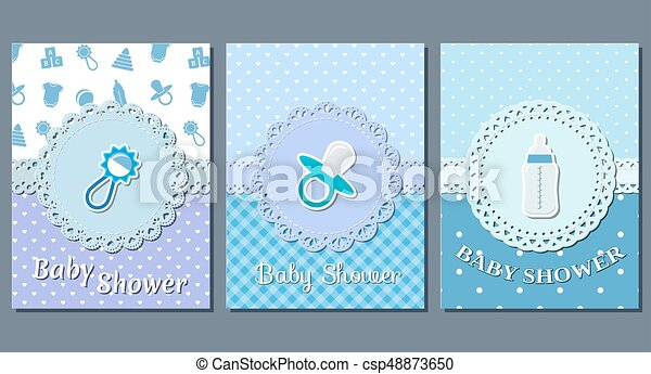 Baby Boy Shower Cards Vector Baby Shower Cards Set Cute