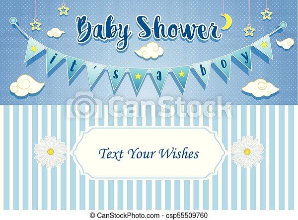 Vector Illustration Of Baby Boy Shower Invitation Card Design Template