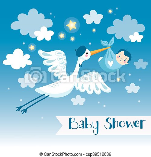 Baby Boy Shower Invitation Card With Stork. Vector