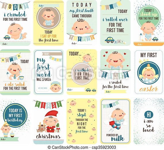 Baby Boy Stepping Stone Cards - csp35923003