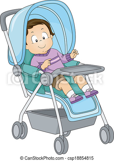 Baby Boy Stroller Illustration Of A Toddler Sitting In A