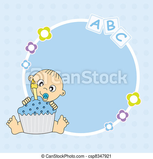 baby boy with a birthday cake - csp8347921