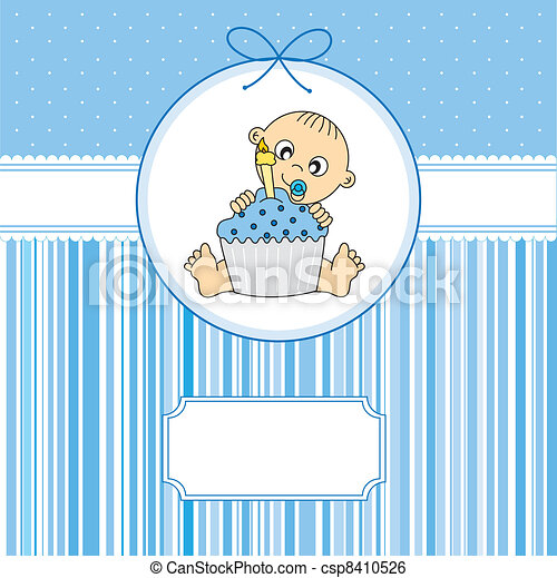baby boy with a cake - csp8410526