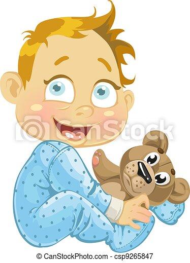 baby boy with a soft toy bear(0).jpg - csp9265847