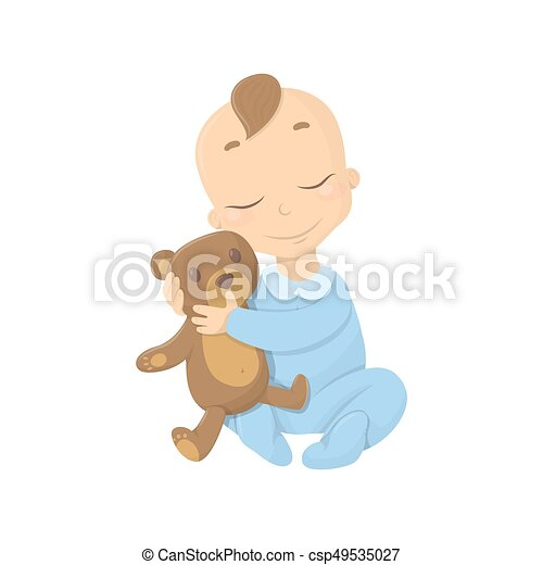 Baby boy with bear. - csp49535027