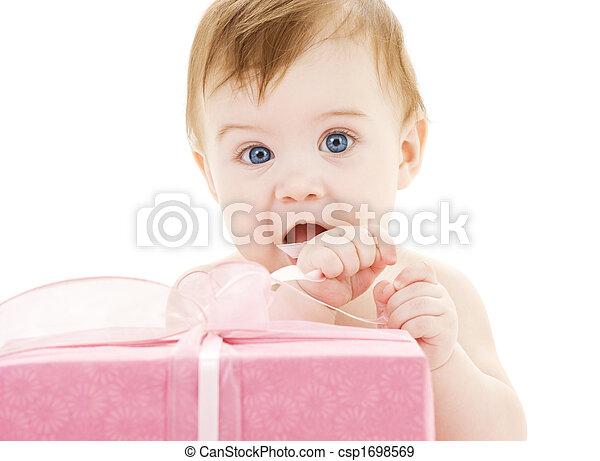 baby boy with big gift box - csp1698569