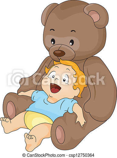 Baby Boy with Big Toy Bear - csp12750364