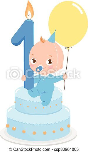 Baby boy with birthday cake - csp30984805