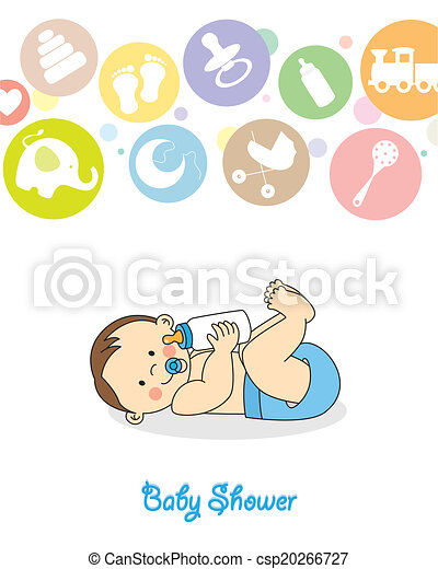 baby boy with bottle - csp20266727