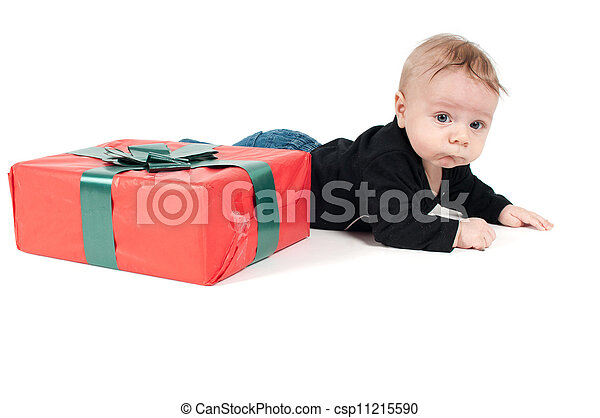 baby boy with christmas present - csp11215590