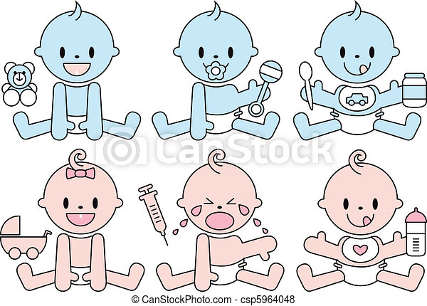 baby boys and girls, vector - csp5964048