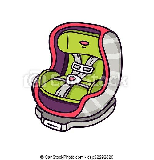 Baby car seat, bright vector - csp32292820