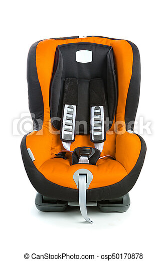 Baby Car Seat Orange Color Isolated On White