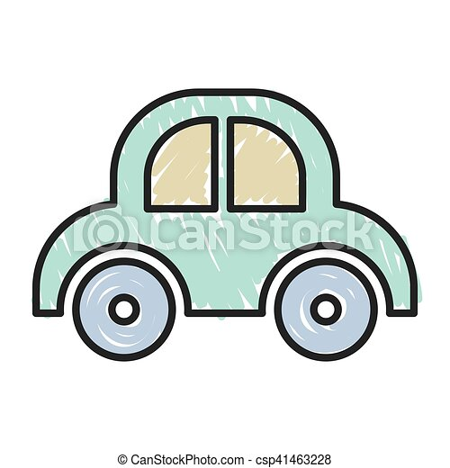 blue baby car toy over white background sketch and draw design