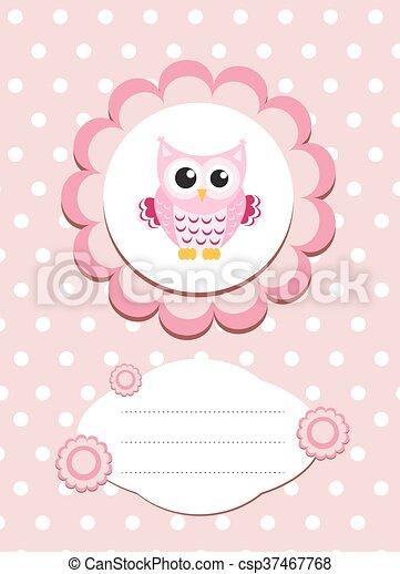 Baby card cute owl, baby owl invitation, frame for text cute animal ...