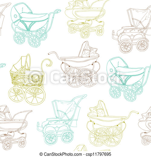 Baby Carriage Background - for your design and scrapbook in vector - csp11797695