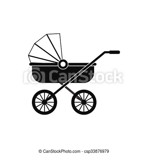 Baby carriage black simple icon - csp33876979