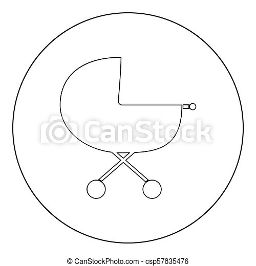 Baby carriage  icon black color in circle - csp57835476