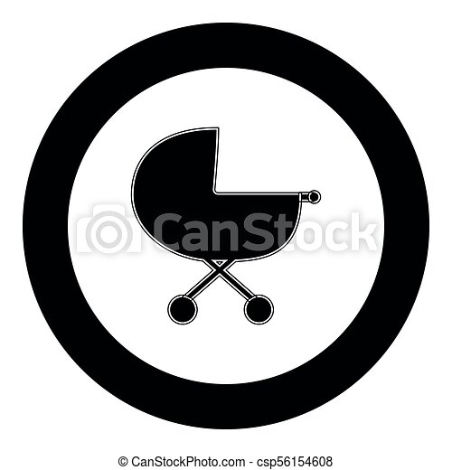 Baby carriage  icon black color in circle - csp56154608