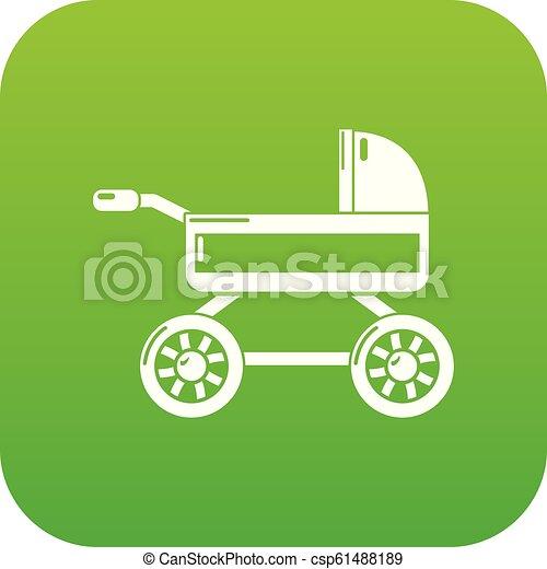 Baby carriage icon green vector - csp61488189