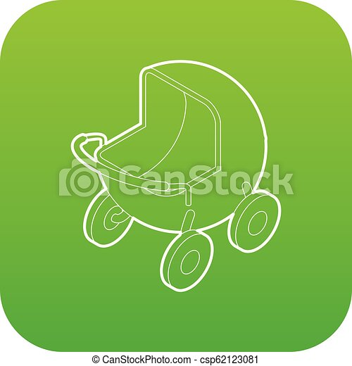 Baby carriage icon green vector - csp62123081