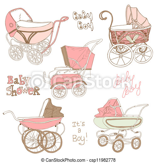 Baby Carriage Set - for your design and scrapbook in vector - csp11982778