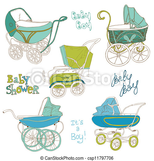 Baby Carriage Set - for your design and scrapbook in vector - csp11797706