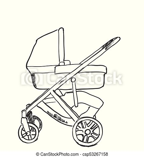 Baby carriage sketch. Hand drawn vector illustration - csp53267158