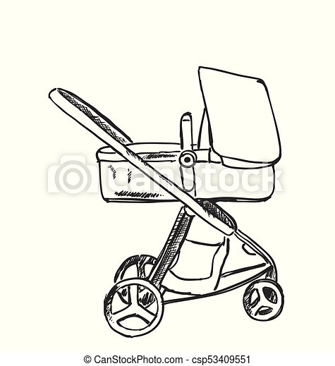 Baby carriage sketch. Hand drawn vector illustration - csp53409551