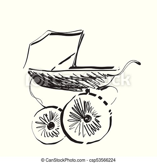 Baby carriage sketch. Hand drawn vector illustration - csp53566224