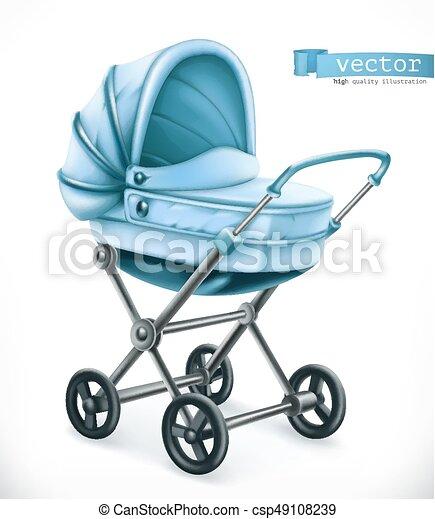 Baby carriage. Stroller 3d vector icon - csp49108239