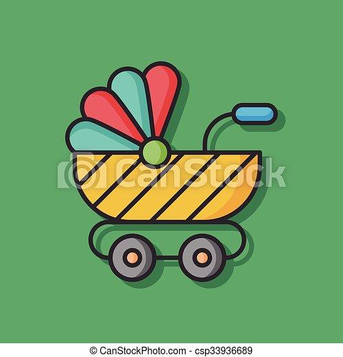 baby carriage vector icon - csp33936689