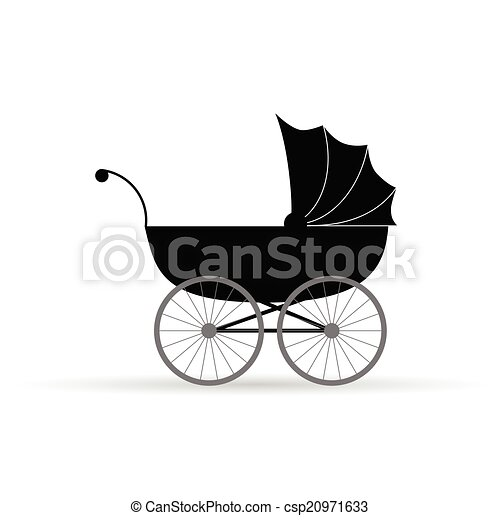 baby carriage vector illustration in black - csp20971633