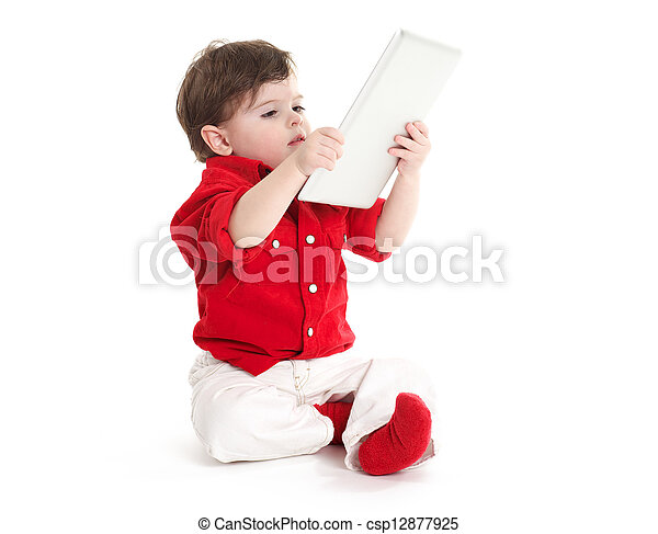 Baby child hold tablet - csp12877925