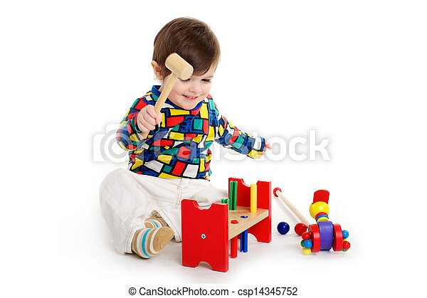 Baby Child playing with toys - csp14345752