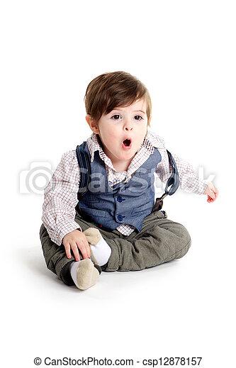 Baby child surprised look - csp12878157