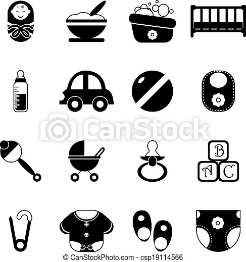 Baby Childhood Isolated Silhouette Icons Symbols Set Vector