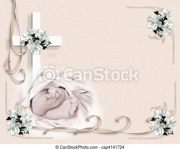 Baby christening invitation image and illustration composition for baby christening invitation csp4141724 stopboris Images