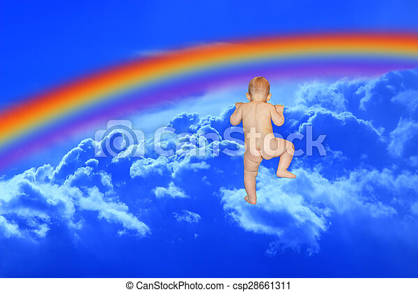 baby climbs to the blue heaven with rainbow - csp28661311