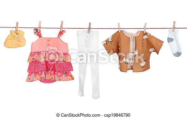 Baby clothes drying on a rope - csp19846790