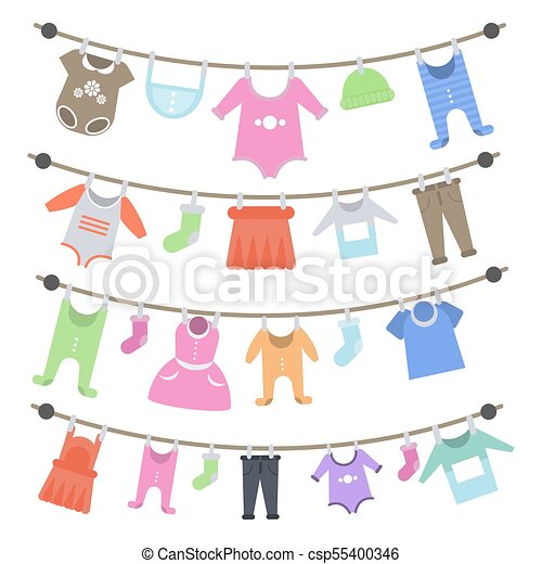 baby clothes hanging baby clothes hanging on rope after washing