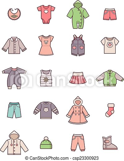 Baby clothes icon set - csp23300923