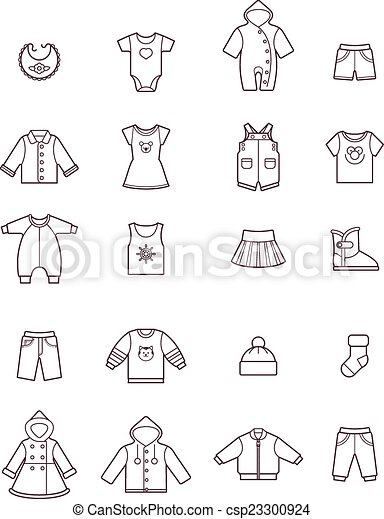 Baby clothes icon set - csp23300924