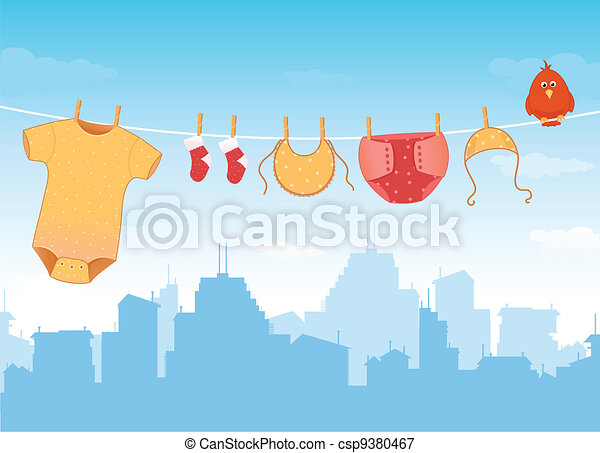 Baby clothes on clothesline - csp9380467