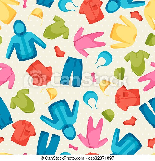 Baby Clothes Seamless Pattern With Clothing Items For Eps
