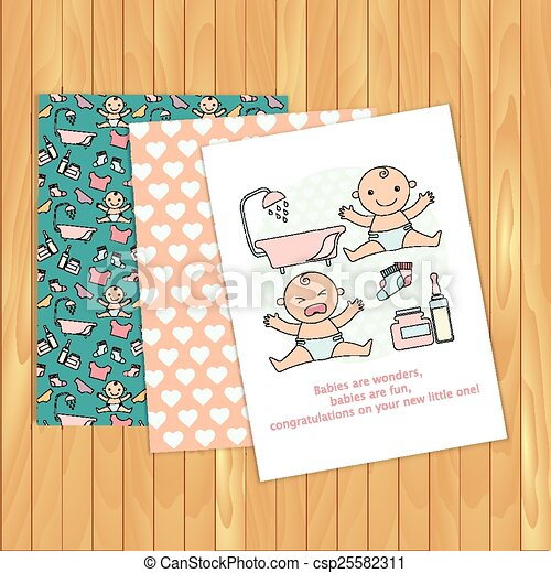 baby congratulations cards vector on wood background place for text pattern is complete masked use for invitations - Baby Congrats Card