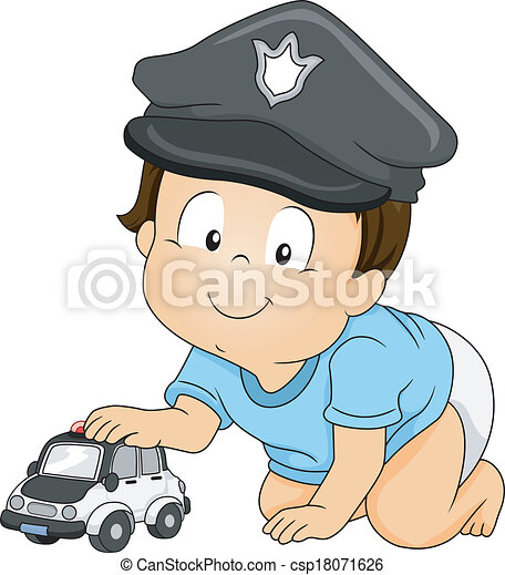 Baby cop. Illustration of a baby boy wearing a police cap. 32d586642b34